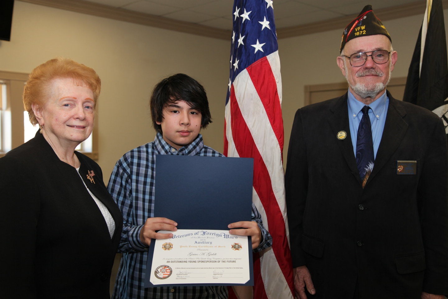 "Gaius A.Galdi, 7th grader at King Philip Middle School, West Hartford, won Second Place with his essay response to ""Why I Honor the American Flag."""